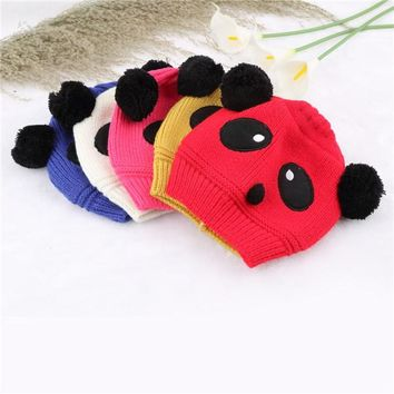 1x Lovely Animal Panda Baby Hats And Caps Kids Boy Girl Crochet Beanie Hats Winter Cap For Children To Keep Warm Hot Sale