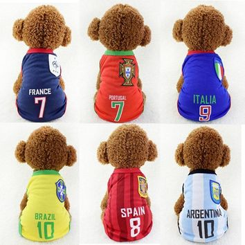 Cheap Dog Clothes Sports Shirt for Dogs Pet Soccer Jersey Summar Dog Vest Puppy Football Clothes for Dogs tshirt Pet Clothes