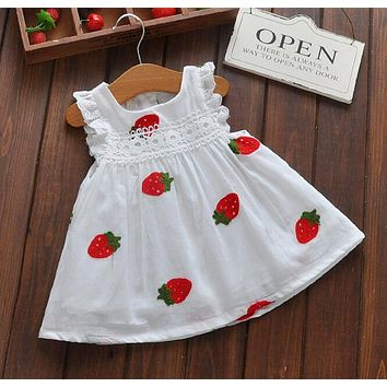 Girls Cartoon Strawberry Dress Baby Summer Sleeveless Lace Dress Kids Cute White Color Cotton Dresses