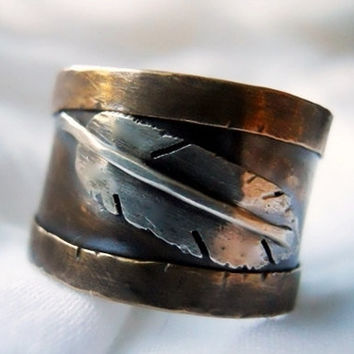 ON SALE Relic Wide Band Feather Ring Unisex Red by patinaware