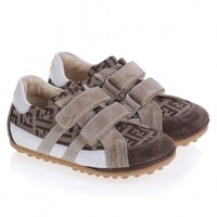 Boys Brown Zucca Print Leather Trainers