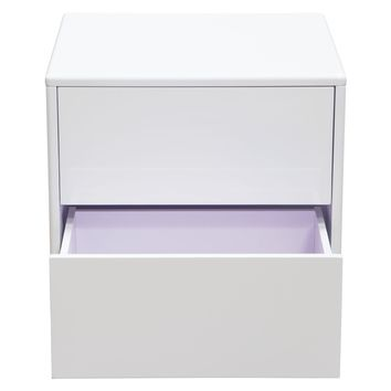 Tempo End Table with Drawer Storage in White Lacquer Finish and Black Powder Coated Legs
