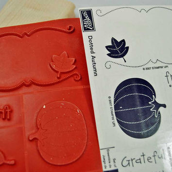 """Stampin Up Stamp Set RUBBER STAMPS """"Dotted Autumn"""" 2007, Retired, New Set Mint Condition - Scrapbooking, Cardmaking"""