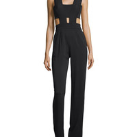 Karina Grimaldi Last Sleeveless Jumpsuit W/Cutouts, Black