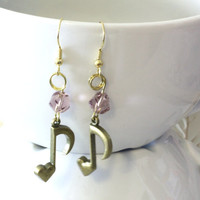 Gold Heart Music Eighth Note Charm with Twisted Light Purple Crystal Bead Accent Earrings - Fashion Trend Accessories