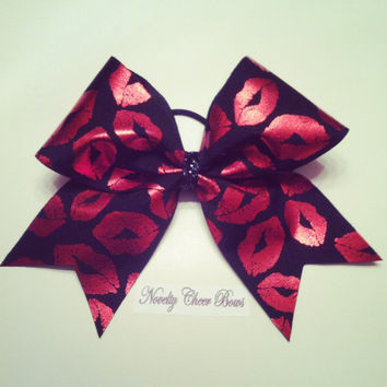 Black with Red Foil Lips Cheer Bow Black Glitter Center