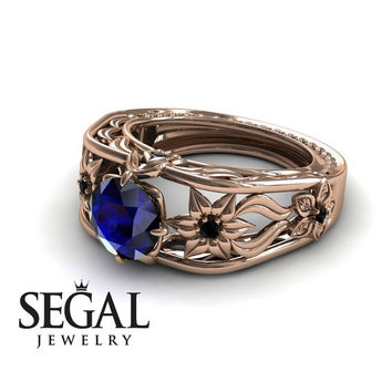 Unique Engagement Ring 14K Red Gold Flowers Leafs Vintage Art Deco Ring Sapphire With Black Diamond - Alexis
