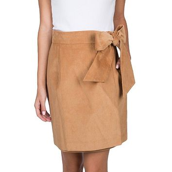 Corduroy Wrap Skirt in Camel by Lauren James - FINAL SALE