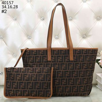 Fendi 2019 new classic double F letter printing female handbag shoulder bag mother bag two-piece #2