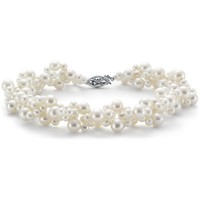 Blue Nile Freshwater Cultured Pearl Woven Bracelet with 14k White Gold