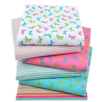6pcs/Lot Print Twill Cotton Fabric For Sewing Doll Baby Bedding Clothes Dress Skirt Patchwork Dragonfly Tissue Material 40x50cm