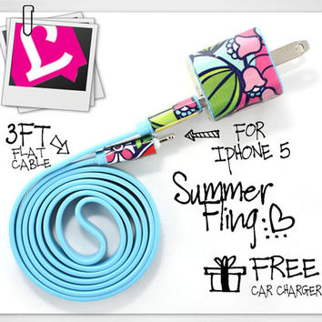 3in1 Blue Summer Fling iPhone Charger (For iPhone 5 and iPhone 4/4s in 3ft and 10ft long cable)