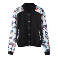 Black Long Sleeve Fish Print Jacket