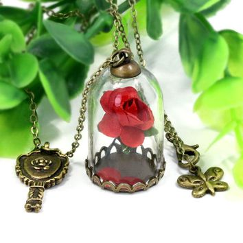 RE 12pcs/lot Beauty And the Beast Choker Rose In The Glass Bottles With Key And Butterfly Necklace For Party Gifts