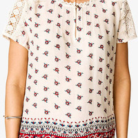 Floral Crochet Peasant Top | FOREVER 21 - 2027704412