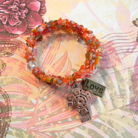 Handmade Coil Bracelet with Colorful Millefiori Chip Beads, Cross & Love Charms