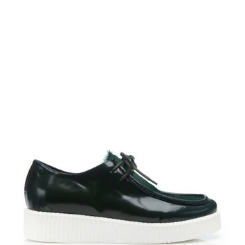 Joshua Sanders Pony Hair and Leather Sneakers Green