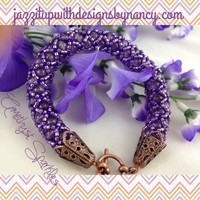 Bracelet Handmade Beaded Rope Bangle Amethyst Purple Lavender Copper