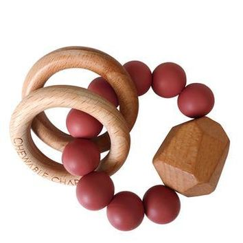 Hayes Silicone+Wood Teether Ring Dusty Cedarwood by Chewable Charm