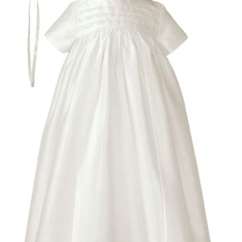 Silk Dupioni Handmade Generation Heirloom Christening Gown w Bonnet (Baby Girls or Boys Newborn - 12 months)