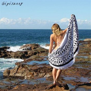 ESBU3C Bohemian Style Round Hippie Tapestry Beach Cover Up Throw Roundie Mandala Towel Yoga Mat Summer Wraps Women Free Shipping,Jan 7