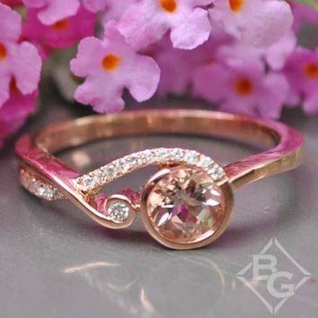 Ben Garelick Rose Gold Swirl Bezel Set Round Cut Morganite Engagement Ring