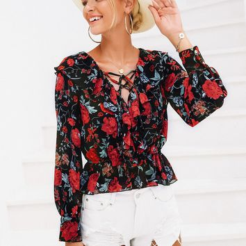 Simplee Floral Print Lace Up Peplum Top