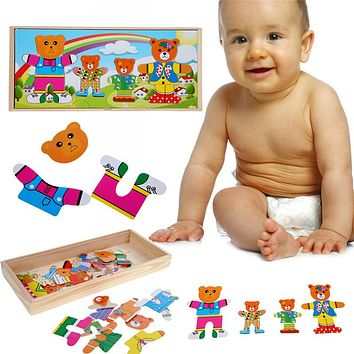 Baby Wooden Puzzle Toys Children Early Educational Funny Toys Bear Changing Clothes Wooden Puzzle Game Toys Good Gifts for Kids