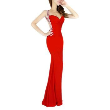 Grace Karin® Women Red Deep V Neck Sequins Long Prom Evening Dresses (2)