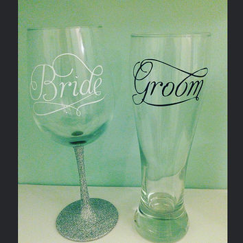 Bride wine glass, Groom beer mug, Bride and groom gift, glitter wine glass, wine glass, beer mug