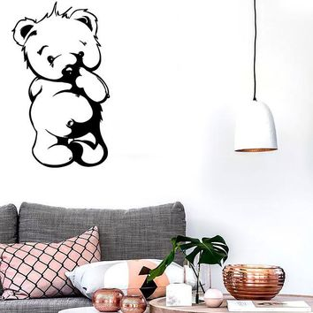 Wall Stickers Vinyl Decal Shy Teddy Bear Decor For Nursery Kids  Unique Gift (z2338)