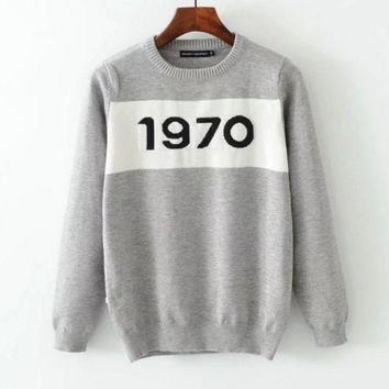 PEAPUF3 1970 Fashion Long Sleeve Casual High Neck Splicing Pullover Sweater