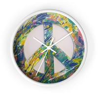 Peace Sign Wall Clock Fluid Art, Wall Clock, Art Clock, Wall Clock, Abstract Art Clock, Peace Sign Clock, Peace Sign, Wall Art, Gift, Wall