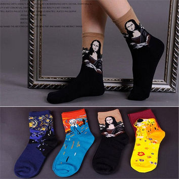 2016 New Arrival Van Gogh Paiting Mona Lisa Patterned Socks Fashion Women Socks Hot Sale Cute Socks Funny Socks