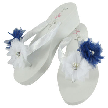 Royal Blue & White Bridal Flip Flops/ Bridesmaid Sandals Shoes