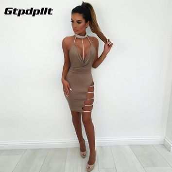 Gtpdpllt Halter Backless Summer Dress Women Off Shoulder 2018 Diamonds Hollow Out Sexy Mini Dress Club Party Dresses Woman