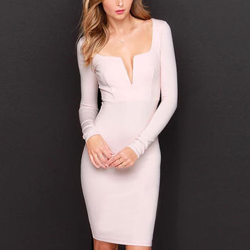 Pink Long Sleeve V-Neck Bodycon Dress