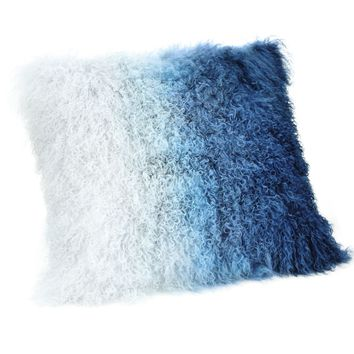 Lamb Fur Pillow Blue Spectrum 100% Wool Front 100% Polyester Back