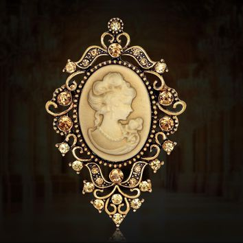 Cool Victoria Antique Gold Silver Vintage Brooch Pins Female Brand Jewelry Queen Cameo Brooches Rhinestone For Women Christmas GiftAT_93_12