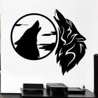 Wall Decal Wolves Pack Howl Night Moon Beast Animal Sky Vinyl Stickers Unique Gift (ed256)