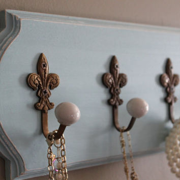jewelry organizer for wall, scarf hook, coat hook, key rack, jewlery hanger, necklace holder, jewlery organizer, fleur de lis, french blue