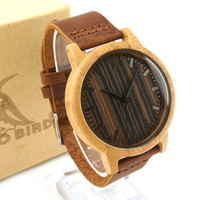 Unique Wood Face & Leather Band Men's Quartz Watch