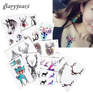 1 Sheet Mysterious Elk Deer Unicorn Tattoo Sticker Waist Hand Chest Body Art Temporary Tattoo Decal Paper for Women Men Fake New