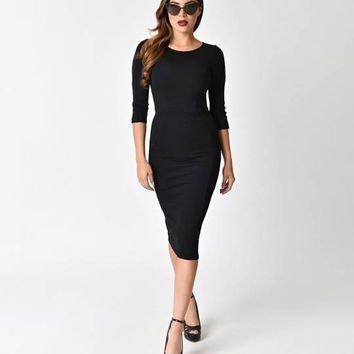 Unique Vintage 1960s Style Black Knit Long Sleeved Mod Wiggle Dress