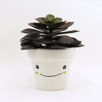 Succulent Planter, Succulent Pot, Cute Face Planter, Plant Pot, Air Plant Holder, Flower Pot, Indoor Planter, Kawaii Planter, Gold Planter
