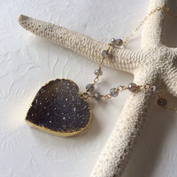 Silver Heart druzy gold filled necklace - labradorite necklace - Valentine necklace- druzy necklace