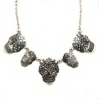 Sugar Skull Silver Burnish Plating Multi Pendants Chain Link Necklace and Earrings