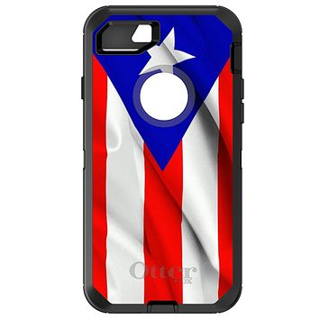 DistinctInk™ OtterBox Defender Series Case for Apple iPhone or Samsung Galaxy - Red White Blue Puerto Rico Flag