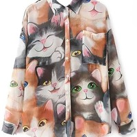 Adorable Cat Print Chiffon Shirts - OASAP.com