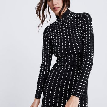 STUDDED KNIT DRESS